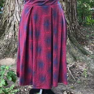 LulaRoe Red and Blue Madison Skirt Size L
